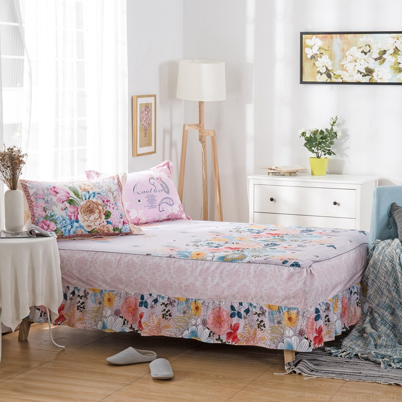 Bohemian Korean flowers bed skirt, striped plaid bed spread simple style mattress cover twin full queen king size 1 piece cotton