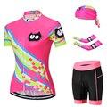 MTB велосипед Джерси Набор кошка розовый женская летняя одежда для велоспорта рукав для велосипеда рубашка шорты Кепка Рука теплая быстросо...
