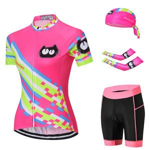 ee0a3d87b MTB Bike Jersey set Cat Pink WOMEN Summer Cycling Clothing arm Sleeve  Bicycle Shirt