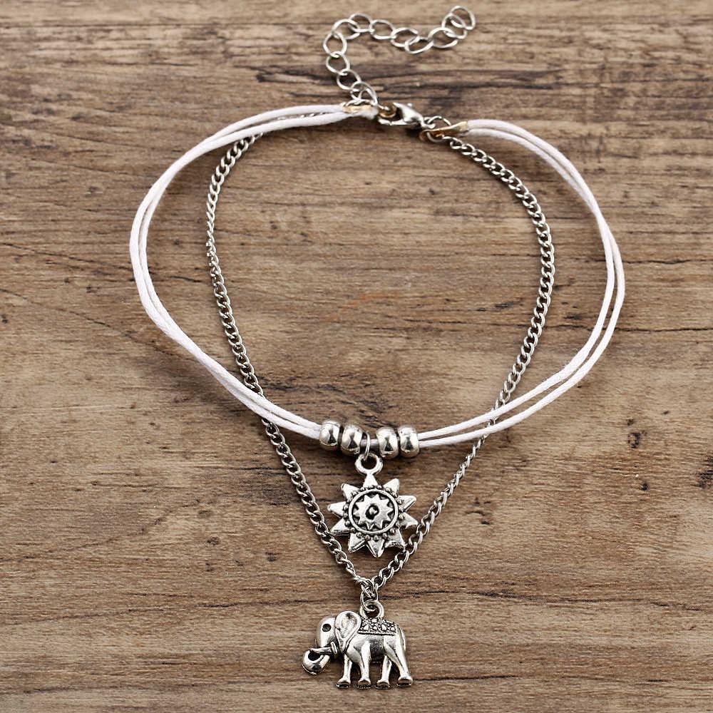 25b0ec52914 ... 17KM Vintage Star Elephant Anklets Bracelet For Women Boho Pendent Double  Layer Anklet Bohemian Foot Jewelry ...