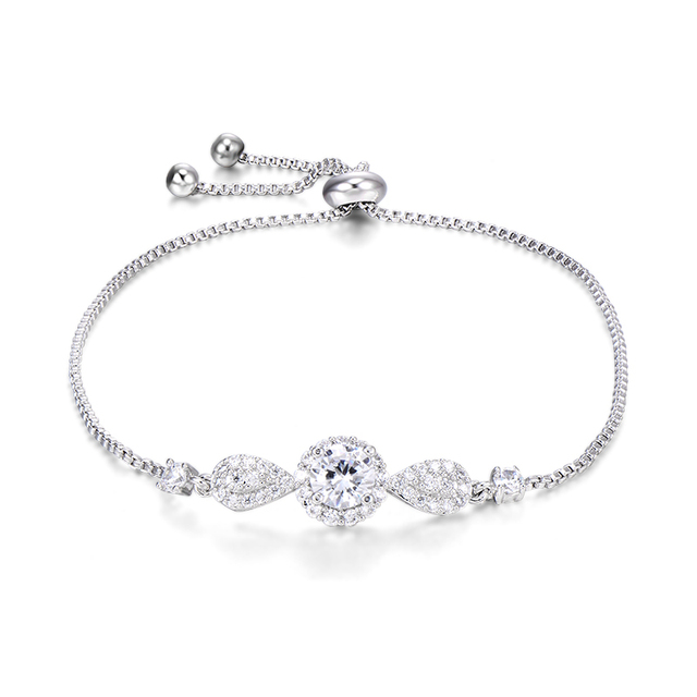 Womens Tennis Bangle Fashion Love Lucky Crystal Chain Cuff Bow Bracelet White Gold Plated