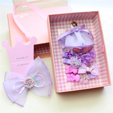10pcs/box Sofia Princess Hair Clips Hairpins Big Ribbon Hair Bows Girls Headdress Hair Accessories