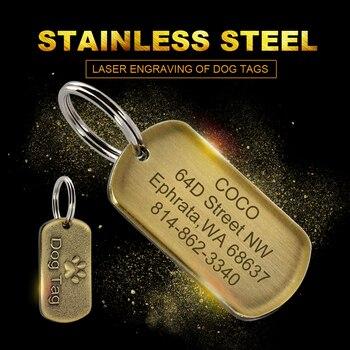 Personalizado perro militar Etiqueta de acero inoxidable etiquetas de perro placa cachorro nombre teléfono etiqueta del animal doméstico Collar de perro Accesorios