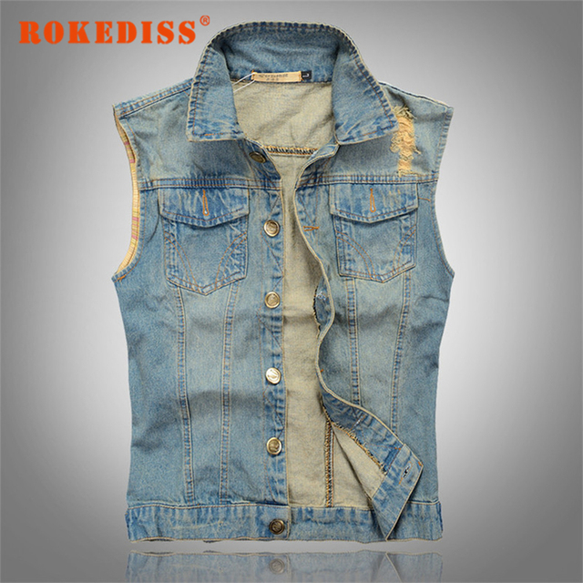 2017 New Stylish Cool Men`s Denim Vest Plus Size 3XL Vintage Ripped Distressed Waistcoat Sleeveless Jeans Jacket For Men G266