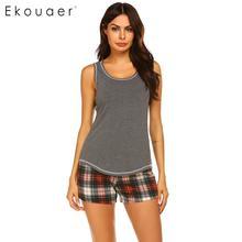 Ekouaer Mulheres Sleepwear Pijama de Verão Conjunto roupa de Dormir Sexy O pescoço Sem Mangas Tanque Top Bermudas Xadrez Solta Salão Pijama Terno