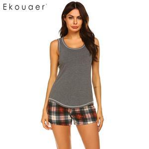 Image 1 - Ekouaer Mulheres Sleepwear Pijama de Verão Conjunto roupa de Dormir Sexy O pescoço Sem Mangas Tanque Top Bermudas Xadrez Solta Salão Pijama Terno