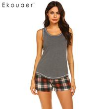 Ekouaer Women Sleepwear Summer Pajamas Set Sexy Nightwear O neck Sleeveless Tank Top Plaid Shorts Loose Lounge Pyjama Suit