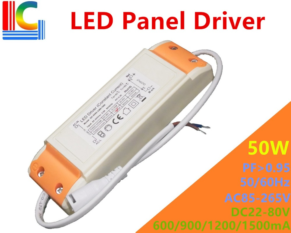 50W LED Panel light driver adapter AC85-265V Power supply 600mA 900mA 1200mA 1500mA Isolation Lighting Transformer Freeshipping