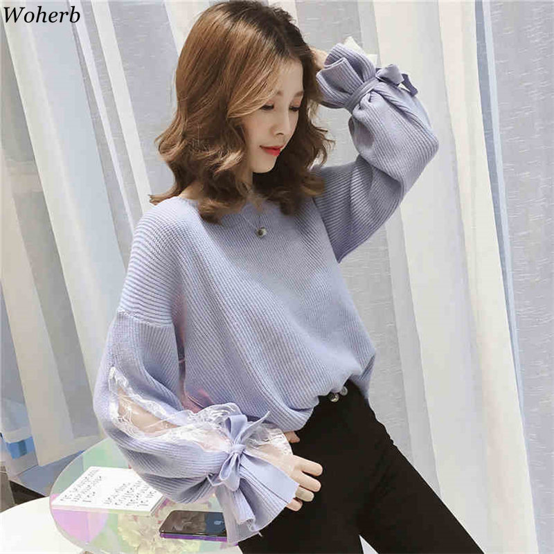 Woherb Hollow Out Lace Bandage Sweater Women Elegant Knitting Pullover Autumn 2019 Asymmetry Knitwear Jumper Sueter Mujer 20177