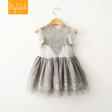 Coréen Vêtements D'enfants 2016 Été Fille Robe Vintage Ruches Manches Vêtements Princesse Party Girl/d'anniversaire Costumes