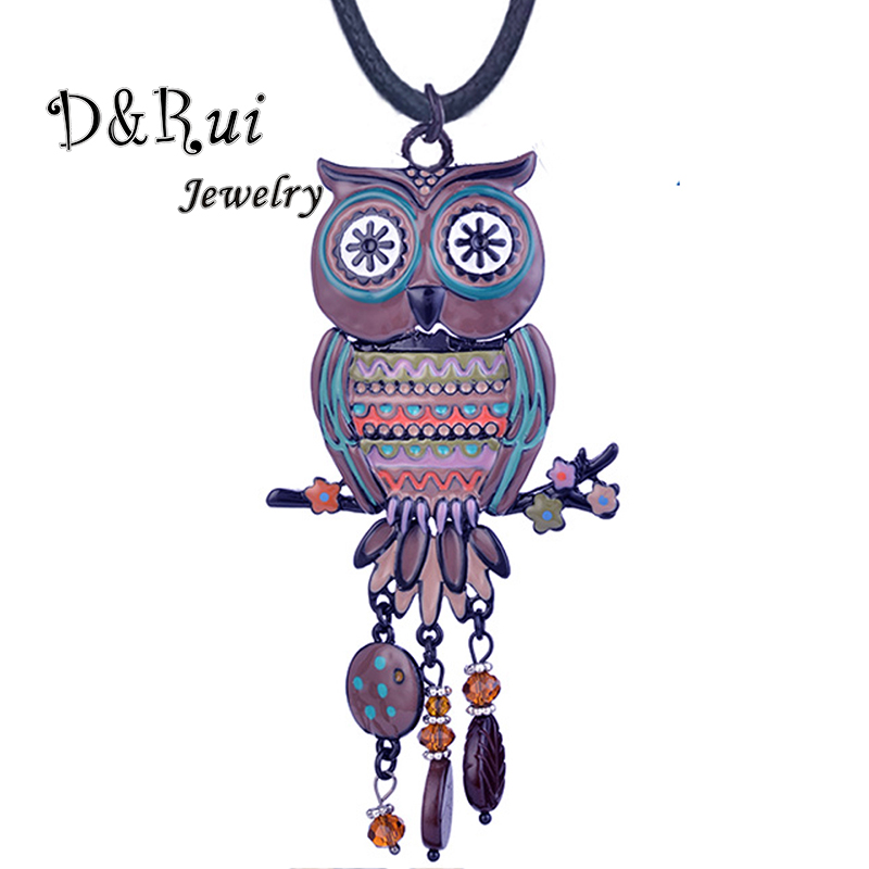 D&Rui Jewelry High Quality Brand Colorful Enamel Owl Pendant New Trendy Crystal Big Pendants Necklace Black Rope Chain for Women