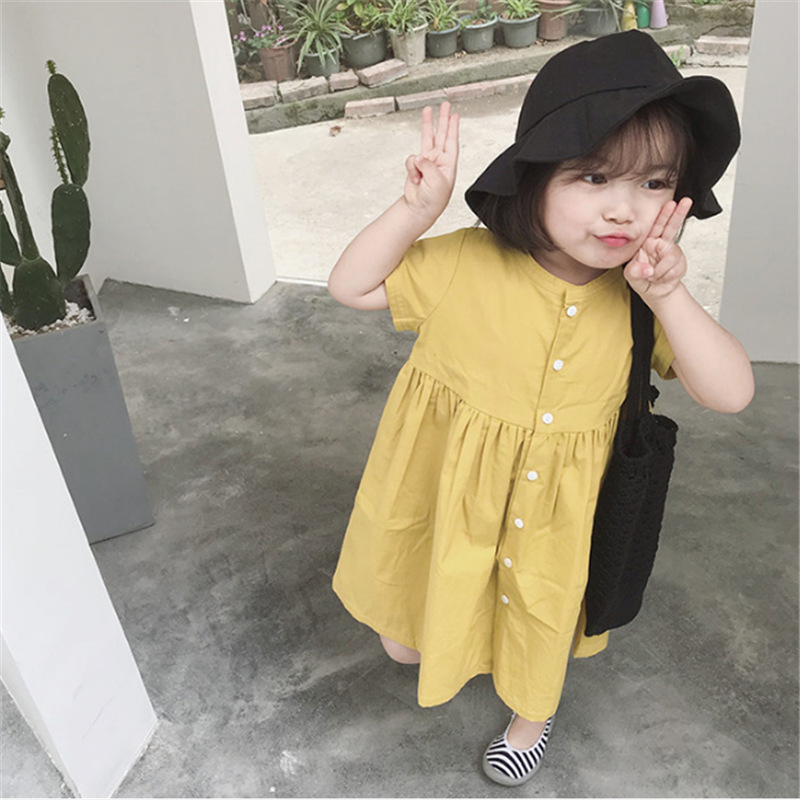 Solid color girls summer dresses 2019 kids dresses for girls party wear Cotton baby girl clothes children birthday dress costumeSolid color girls summer dresses 2019 kids dresses for girls party wear Cotton baby girl clothes children birthday dress costume