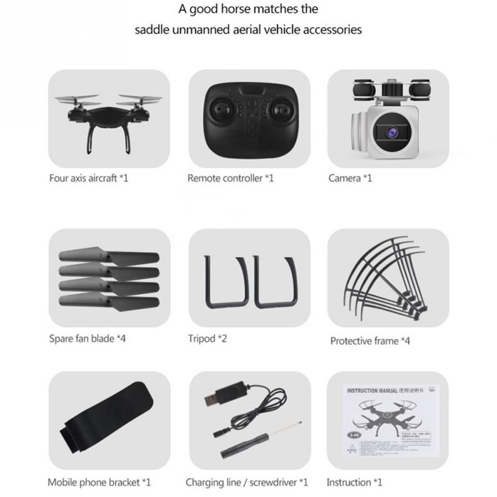 Image 5 - four axis aircraft Remote Control Toy HD camera 1080P wifi FPV self timer folding professional white,black plastic USB 2MP Pixel-in RC Airplanes from Toys & Hobbies