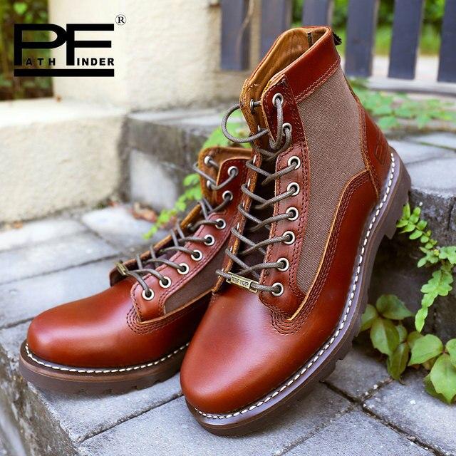 Pathfinder Leather High Botas Male Hombre Original Brand Shoes for Four Seasons Casual Martin Botas Designer Man Shoes