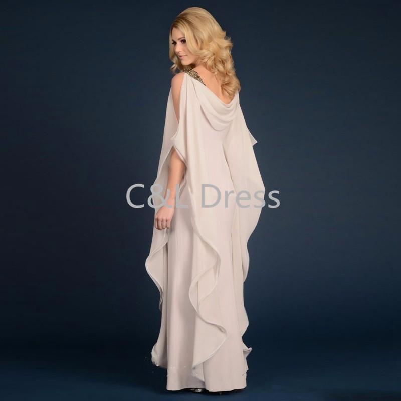 Grecian Goddess Chiffon Mothers Dress With Straps Floor Length Long Elegant Women Dress Mother of the bride groom Dress (3)