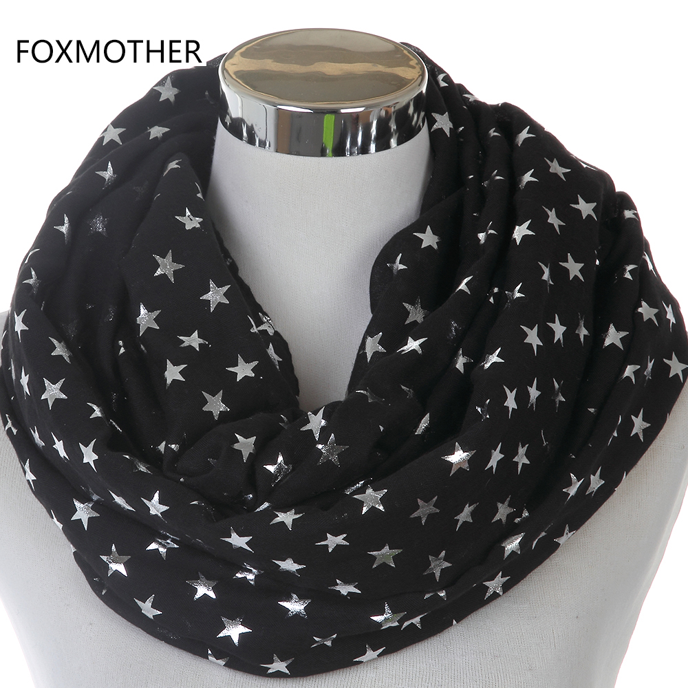 FOXMOTHER 2018 New Fashion Glänsande Bronzing Silver Svart Blå Grå Star Infinity Scarves Snood For Ladies Womens Gifts