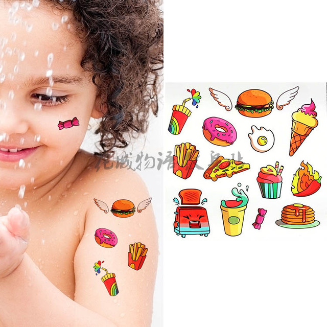 Children colorful Body Art cartoon lovely cute Hamburger fake ...