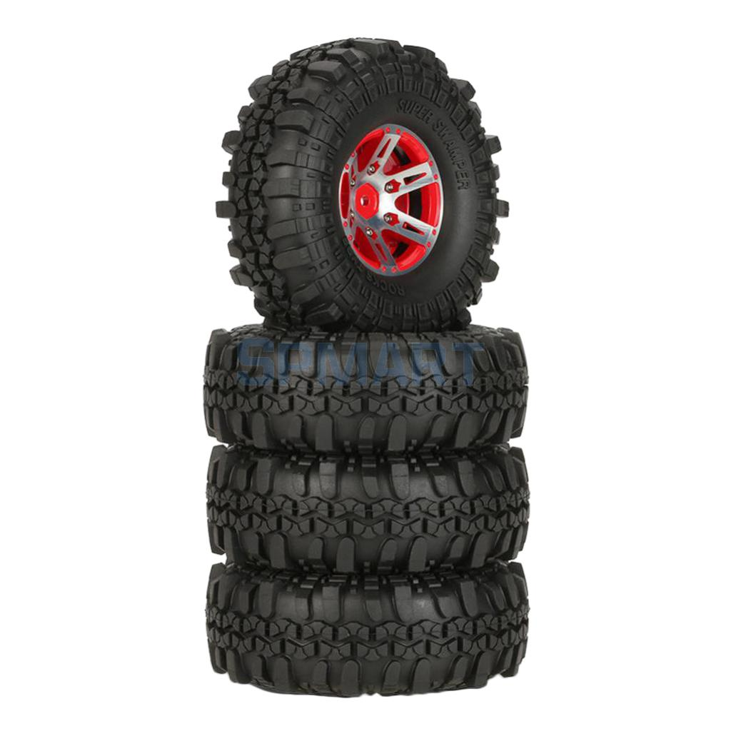 Durable 4 Pieces 1/10 RC Car Rock Tires Crawler Tyres Wheel Rim for RC4WD 90046 D110 Axial SCX10 CC01 D90 Traxxas Red mxfans rc 1 10 2 2 crawler car inflatable tires black alloy beadlock pack of 4