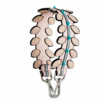Marca intercambiable hojas paneladas correa de hombro de cuero genuino mujeres bolso Correa remache rayas cortas bolsos Accesorios