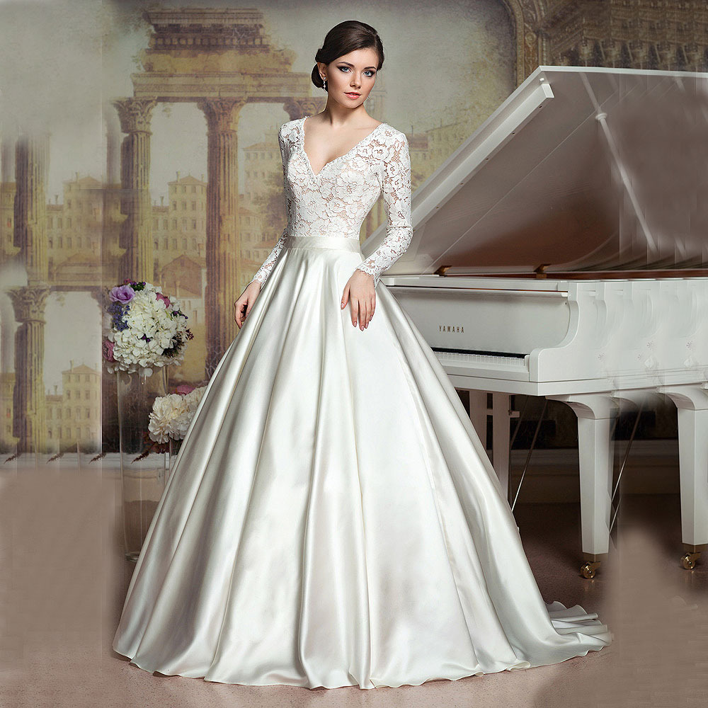 2016 ball gown vintage princess v neck appliques ivory satin bridal 2016 ball gown vintage princess v neck appliques ivory satin bridal dresses vestido de noiva long sleeve wedding dresses in wedding dresses from weddings ombrellifo Choice Image