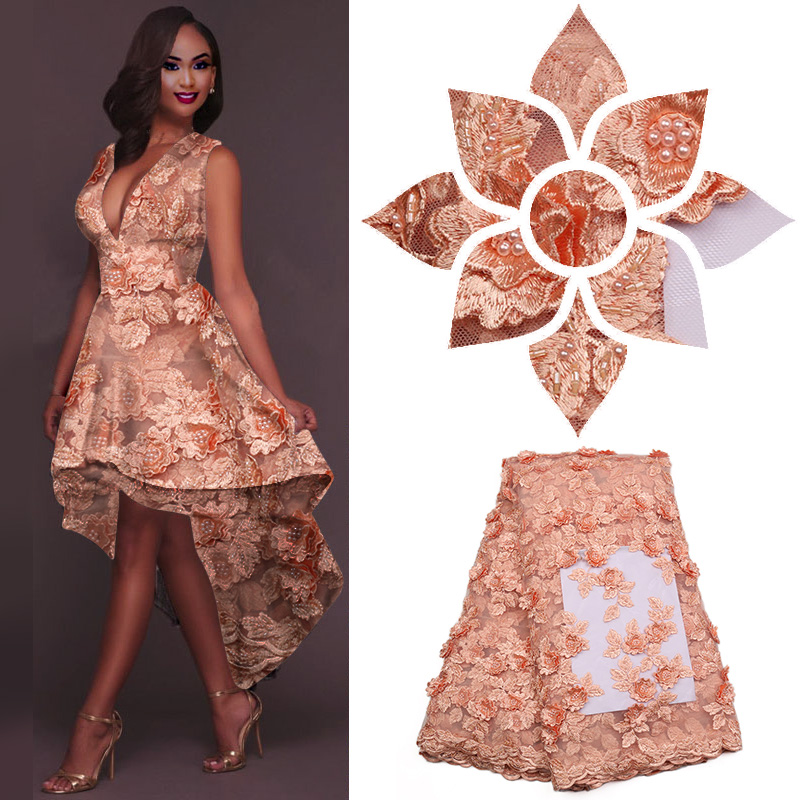 French Lace Fabric Peach Bridal Wedding Dress High Quality 3d Flower Net Embroidery Mesh Material With Pearls GD1518B 3
