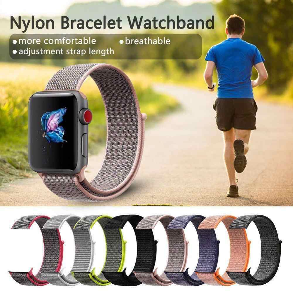 New Colour Woven Nylon SmartWatch Band Fit For Apple Watch Series 4/3/2/1 Breathable Replacement Watches Sport Loop Strap
