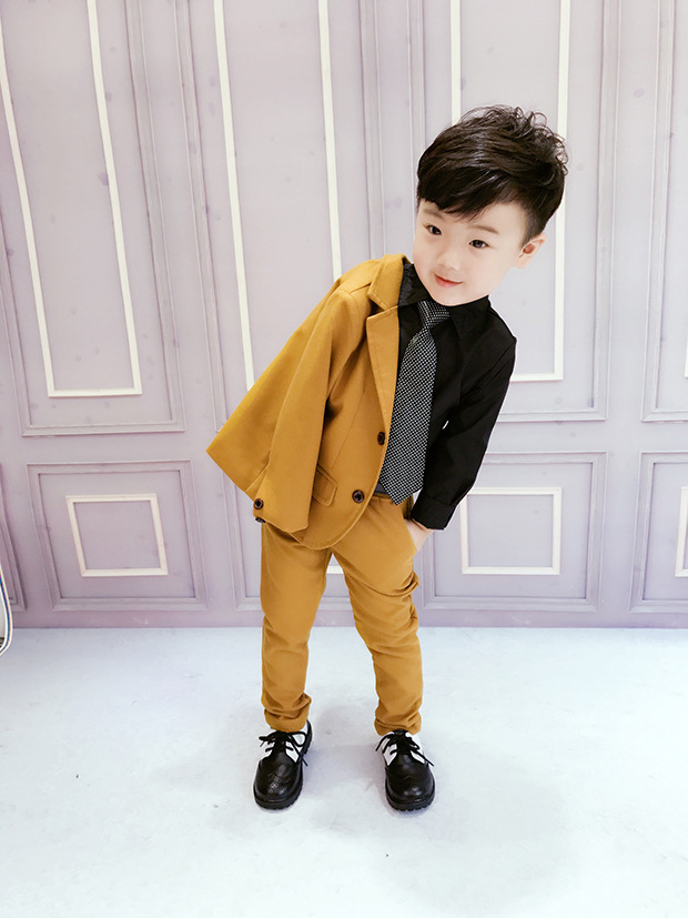 Suit Boys Blazer Coat--Pants Formal High-Quality Gentlemen's Brown Solid Autumn 2pcs