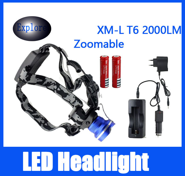 2000 Lumens XML T6 Linterna Torch Boruit Head Lamp light Headlamp Headlight DC Car Charger 2