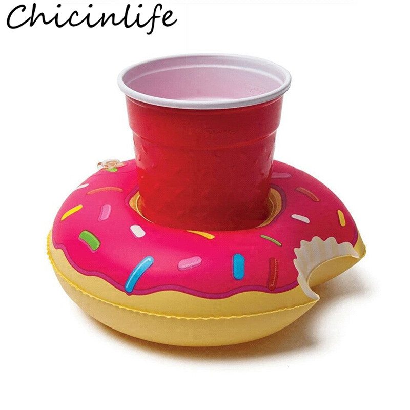 Chicinlife 1Pcs Inflatable Drink Donut Cup Holder Wedding Birthday Party Swimming Pool Kids Adults Toys Decoration Supplies