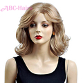 New Coming Synthetic Celebrity Party Hair blonde wig Natural Wavy Short Hair For Women African Americans pelucas sinteticas