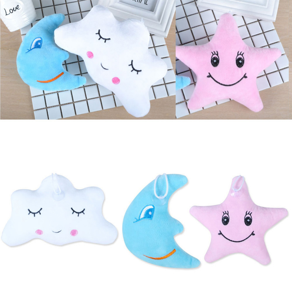2019 New Cute Baby/Adult Moon Star Cloud Shape Emoticon Short Plush Throw Pillow Nap Pillow Dolls Pendant
