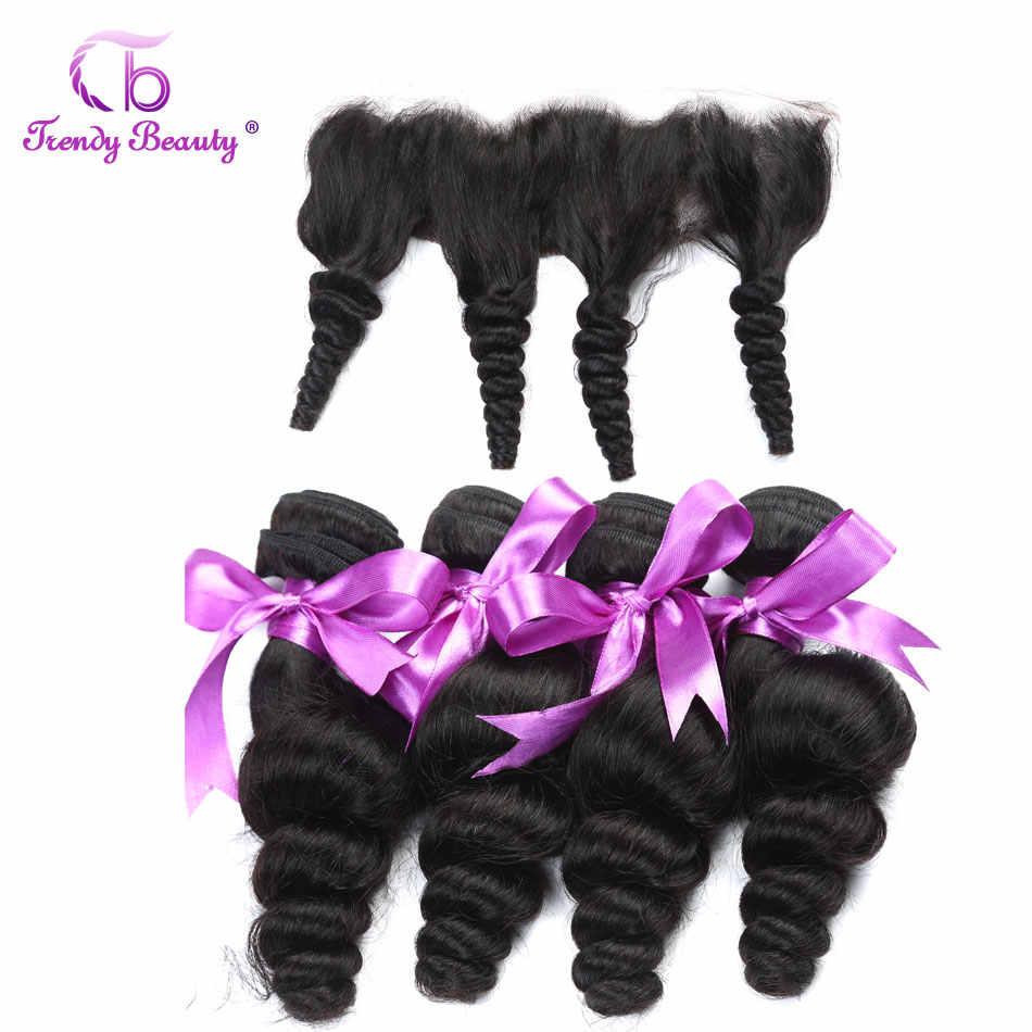 Mechones de ondas sueltas peruanas con cierre 4 Uds cabello humano tejido no Remy belleza de moda pelo 13X4 encaje de oreja a oreja Color Frontal 1B