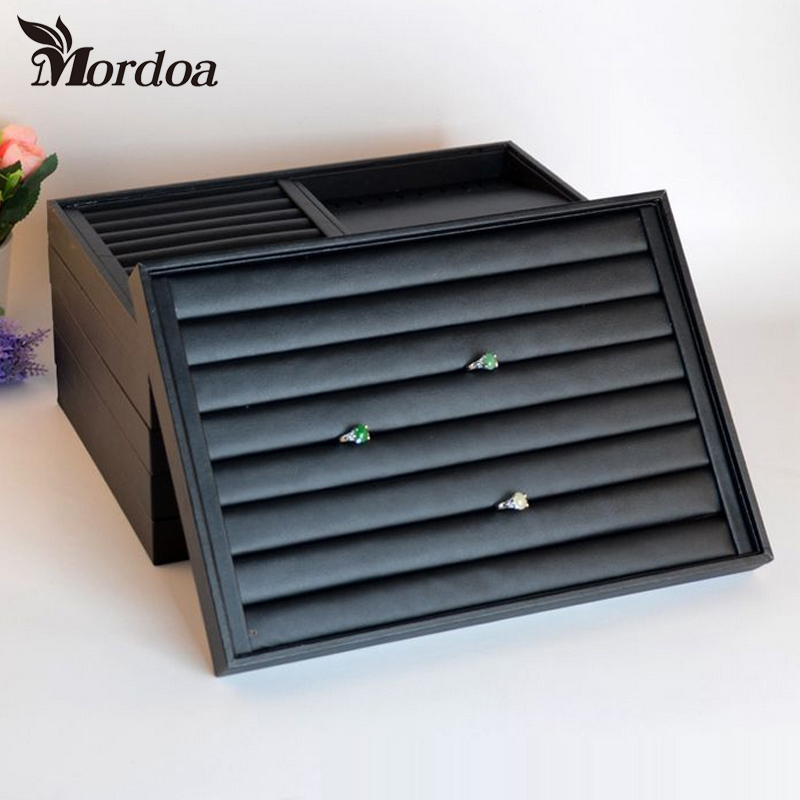 Black Leather Necklace/Ring/Bracelet/Pendant/Loose Bead Hand Catenary Show Case Earring Storage Jewelry Display Tray