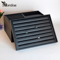 Black Leather Necklace Ring Bracelet Pendant Loose Bead Hand Catenary Show Case Earring Storage Jewelry Display