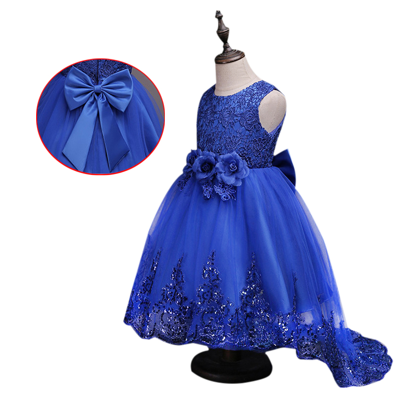 Girls Sleeveless Princess Children Sequins Flower Girl Dress For Wedding 2-12 Years Girls Trailing Party Prom Dresses european and american new sequins lace sleeveless nude meal flower girl dresses show girls poncho big wedding dress