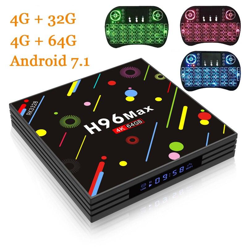 RUIJIE 4G/64G 4G/32G H96 Max H2 Android 7.1 TV Box RK3328 Quad Core 4K Smart Tv 2.4G/5G WiFi USB 3.0 Bluetooth 4.0 Media Player andrid 7 1 tv box h96 max h2 rk3328 quad core 64bit 4gb 32gb ddr wifi 2 4g 5g bluetooth media player support multi language