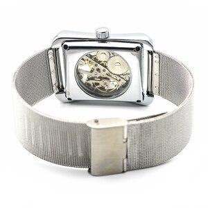 Image 5 - רטרו Mens שלד יד רוח מכאני שעונים שעוני יד לנשים שעונים מלבן שעון יוקרה להקת נירוסטה