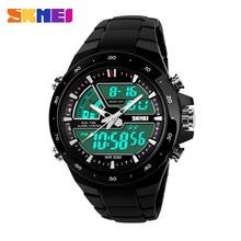 Relogio masculino Homens Relógios Desportivos SKMEI Moda 2 Vezes Chrono Mens Relógio de Quartzo Assistir À Prova D' Água Dual Time relógios de Pulso de Exibição