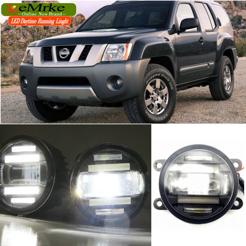 EEMRKE Car Styling for Nissan Xterra N50 2005-2015 2 in 1 Double LED DRL Cut-line Lens Fog Lights Daytime Running Lights for opel astra h gtc 2005 15 h11 wiring harness sockets wire connector switch 2 fog lights drl front bumper 5d lens led lamp
