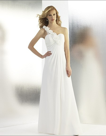 flapper dresses grecian chiffon a-line features rolled rosette detailing one shoulder draped cowl back bridal gown wedding dress
