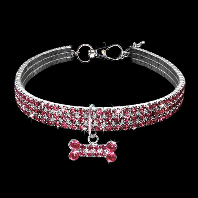 Exquisite Bling Crystal Dog Collar Diamond Puppy Pet Shiny Full Rhinestone Necklace Collar Collars for Pet Little Dogs Supplies 2