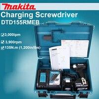 Япония Makita dtd155rmeb зарядки отвертка электрическая роторная отвертка Бесщеточный литиевая батарея 135n. m 3900 об./мин. 3, 000ipm