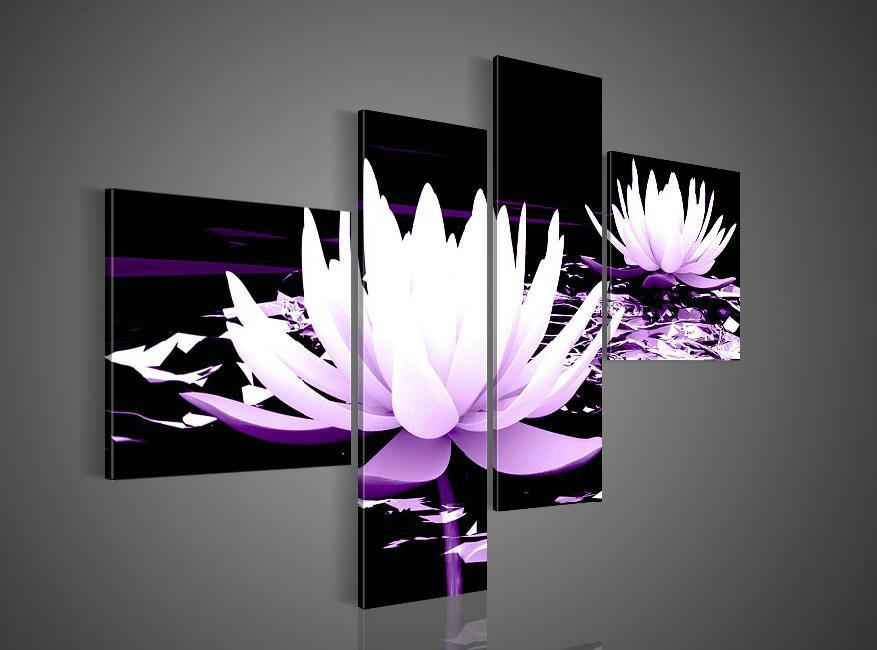 Handpainted 4 Piece Black White Purple Modern Decorative Oil Painting On Canvas Wall Art Flower
