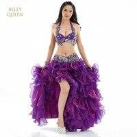 2018 Phụ Nữ New Belly Dance Trang Phục Màu Xanh/Trắng/Tím 3 CÁI (Bra + Váy + Belt) Saia Vestido Indiano Fan Bữa Tiệc Khiêu Vũ Váy