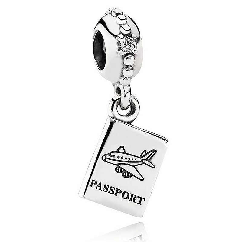New 925 Sterling Silver Bead Charm Vintage Passport With Crystal Pendant Beads Fit Pandora Bracelet Bangle