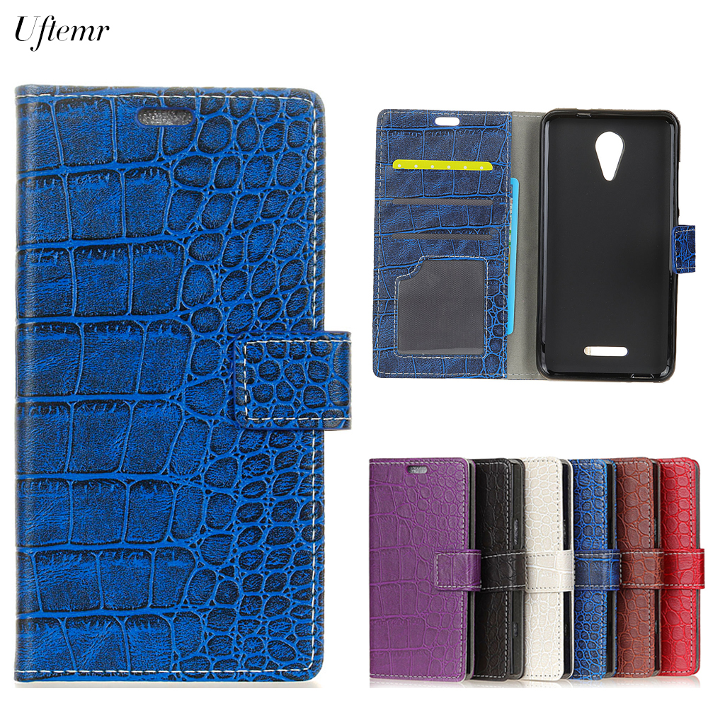 Uftemr Vintage Crocodile PU Leather Cover For Wiko Tommy 2 Protective Silicone Case Wallet Card Slot Phone Acessories