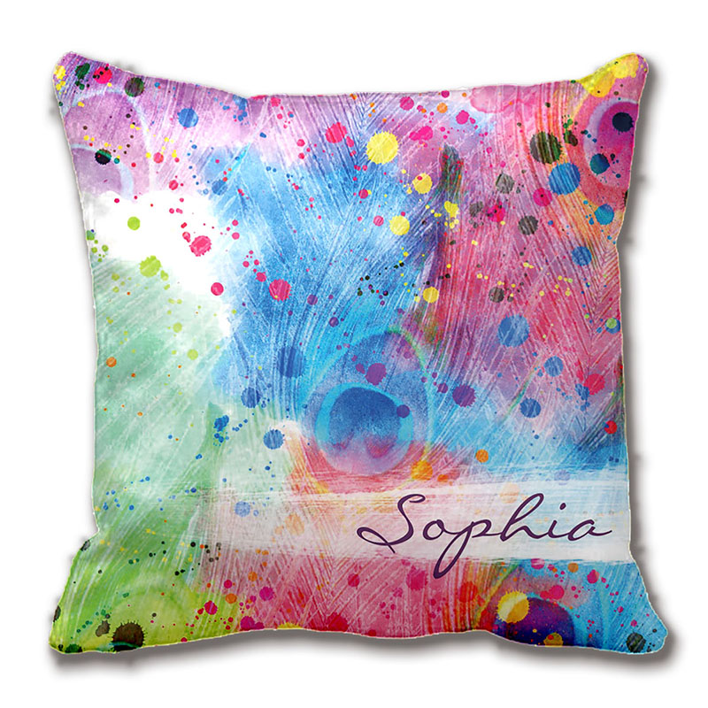 Cool Watercolors Peacock Feathers Abstract Pattern Pillow Decorative Cushion Cover Pillow Case Customize Gift By Lvsure For Car