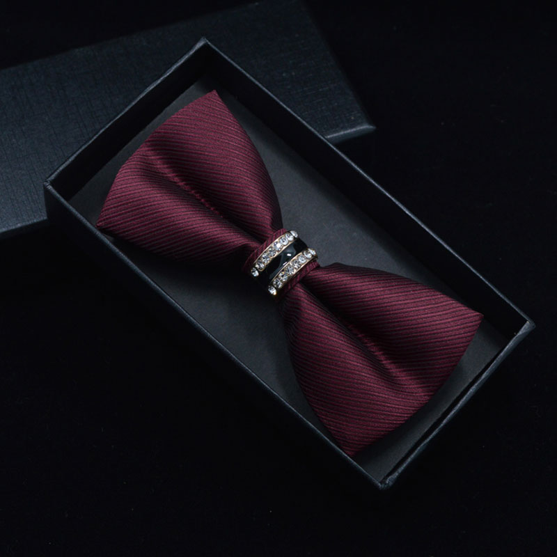 Tuxedo Metal Crystal Wedding Bow Tie