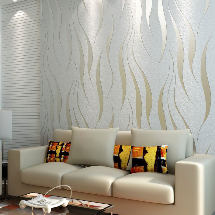 Contemporary Wallpaper Ideas: 10M Roll Modern Wallpaper Style Beige/White Beige White