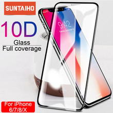Suntaiho 10D protective glass for iPhone X XS 6 6S 7 8 plus glass screen protector for iPhone 7 6 X XR XS MAX screen protection(China)